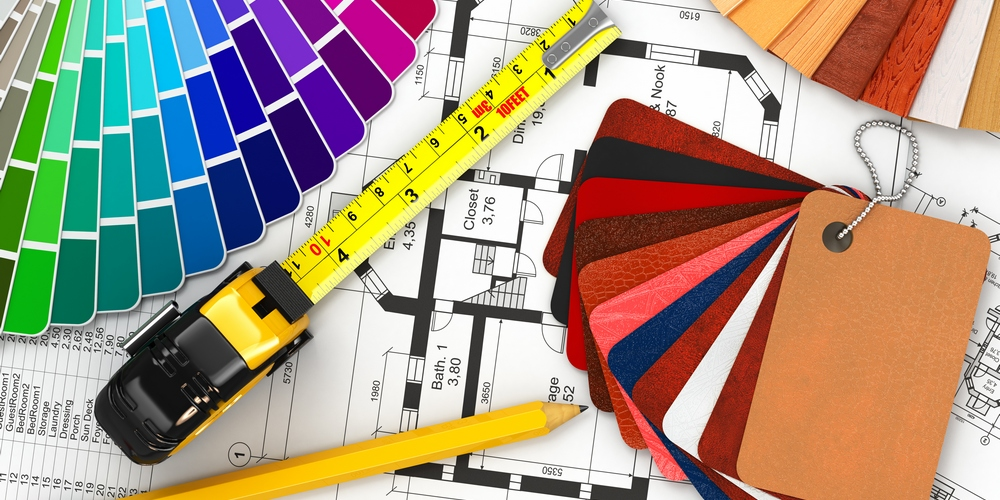 interior design. Architectural materials, measuring tools and blueprints. 3d